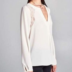 COMING SOON! RENEE C Lace Inset Cream Blouse